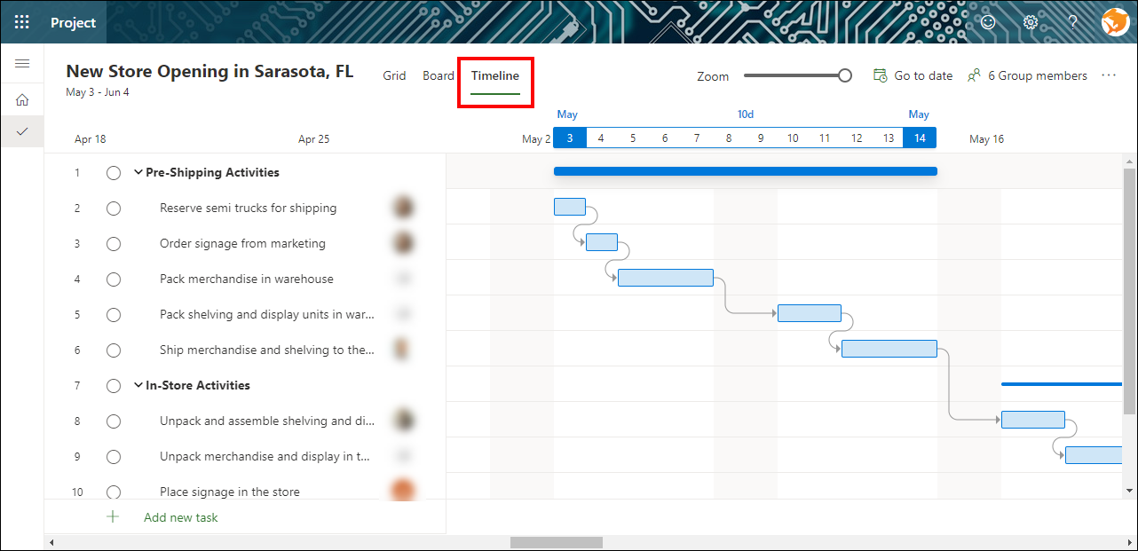 Figure 1: Apply the Timeline view