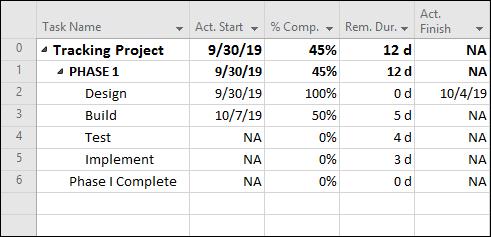 Figure 1:   Progress entered at the task level