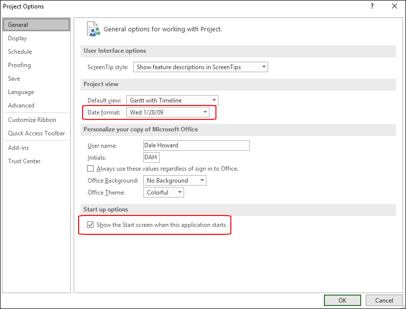 Figure 1:  Project Options dialog - General page