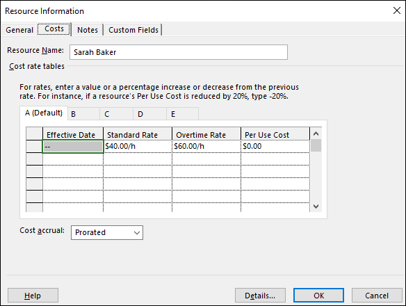 Figure 1: Resource Information dialog, Costs page