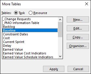 Figure 1: Select the Baseline table