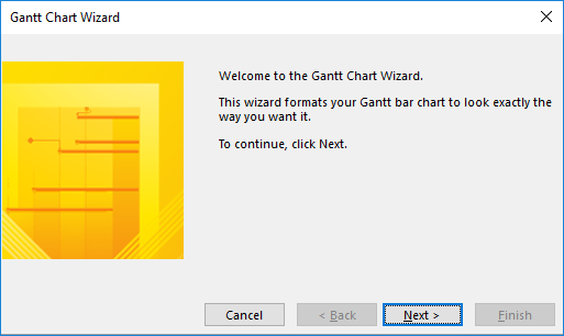 Figure 2: Welcome page of the Gantt Chart Wizard dialog