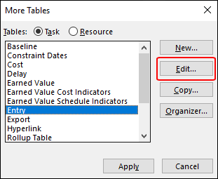 Figure 2: More Tables dialog