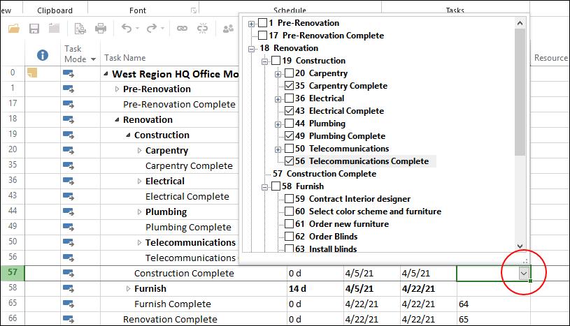 Figure 2: Four Predecessor tasks selected