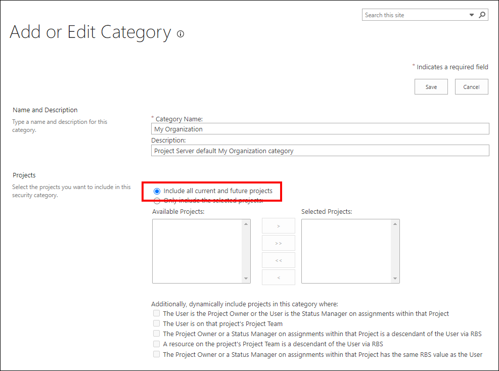 Figure 2:  Add or Edit Category page for the My Organization category