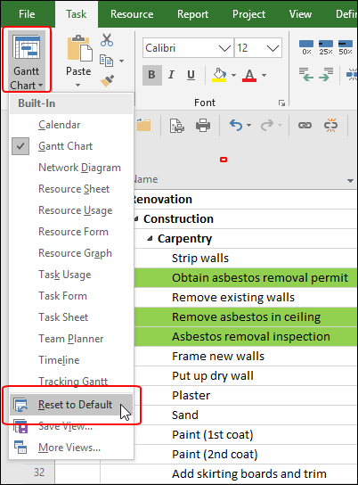 Figure 2: Reset to Default option