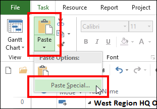 Figure 2: Select the Paste Special item