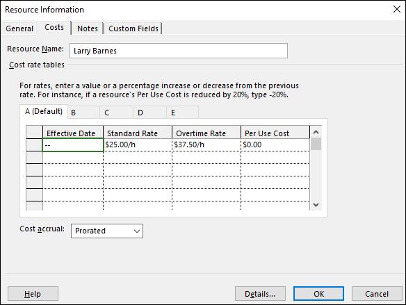 Figure 3: Default cost information for Calvin