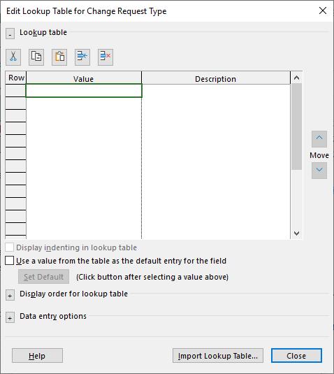 Figure 3: Edit Lookup Table dialog