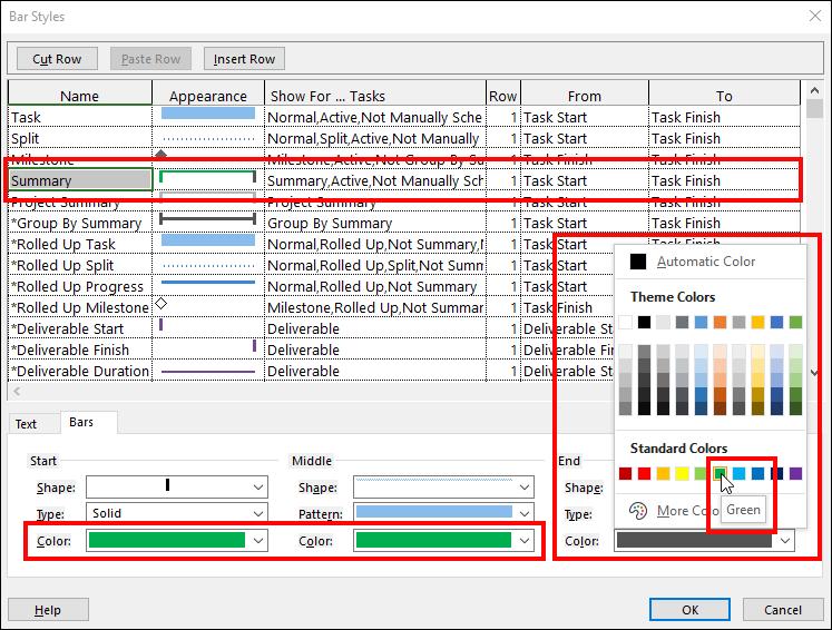 Figure 3: Change the color of summary task Gantt bars