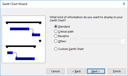 Figure 3: Gantt Chart Wizard dialog - Information to display page