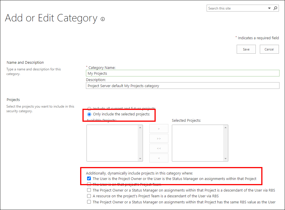 Figure 3: Add or Edit Category page for the My Projects category