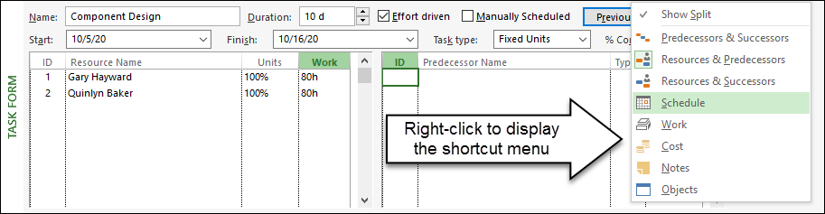 Figure 3: Right-click in the Task Form pane