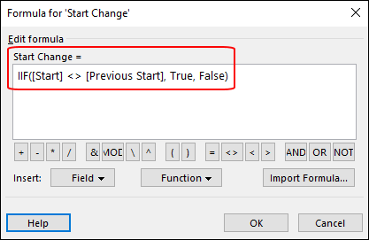 Figure 3: Formula dialog with Start Change formula