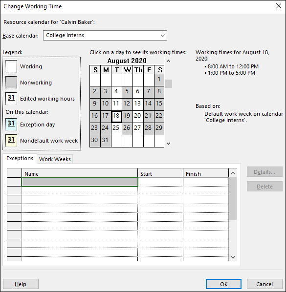 Figure 4: Change Working Time dialog for Calvin Baker