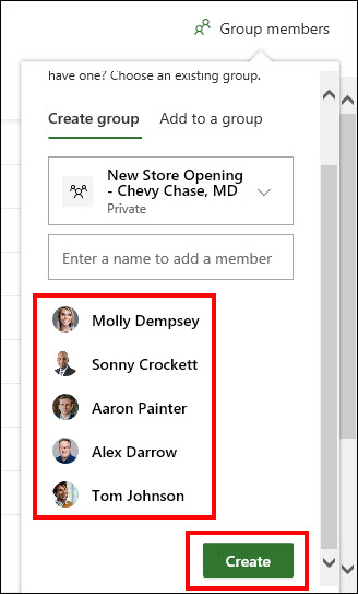 Figure 4: Create the new group