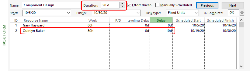 Figure 4: Enter 10d in the Delay column