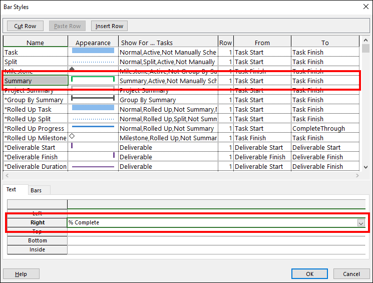 Figure 4: Change the text displayed for summary task Gantt bars