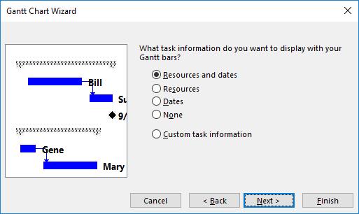 Figure 4: Gantt Chart Wizard dialog - Gantt bar information to display page
