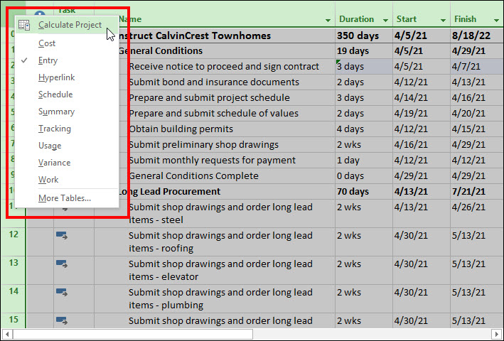 Figure 4: Select the Recalculate Project item on the shortcut menu