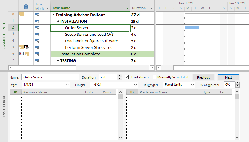 Figure 4: Task Entry view
