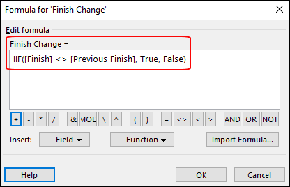 Figure 5: Formula dialog with Finish Change formula