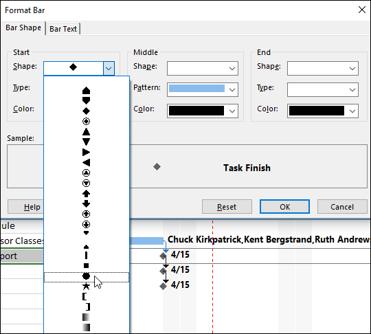 Figure 5: Format Bar dialog – select a Shape value