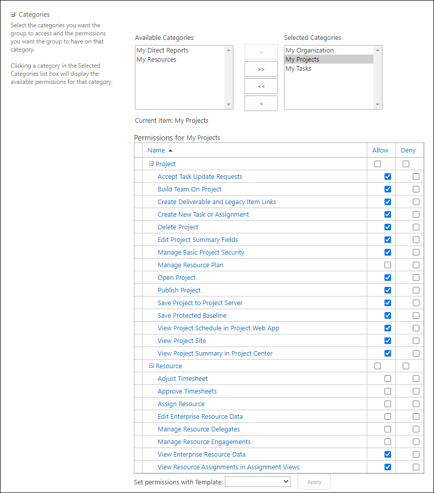 Figure 5: Permissions for My Projects data grid