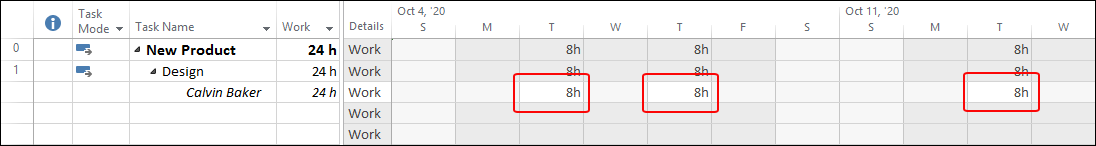 Figure 5: Task Usage view shows the schedule of the Design task