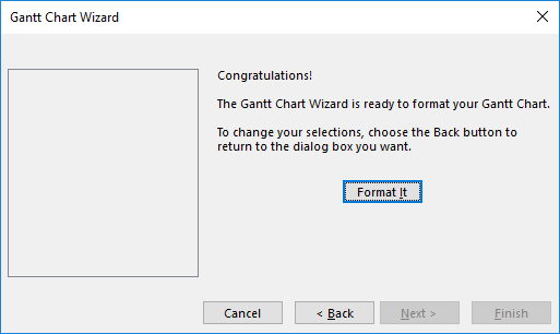 Figure 6: Gantt Chart Wizard dialog - Congratulations page