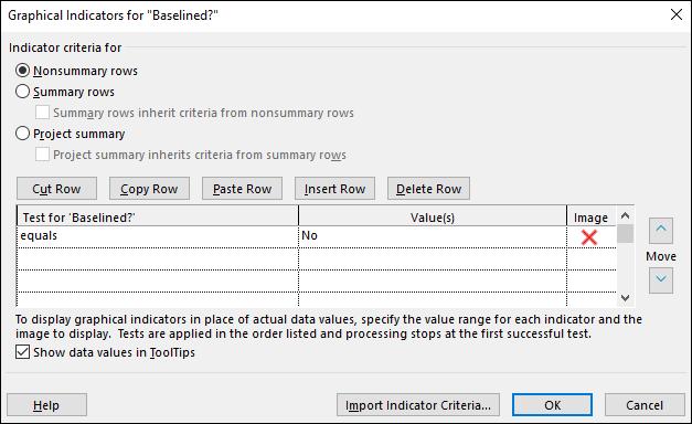 Figure 6: Graphical Indicators dialog - Indicator criteria