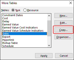 Figure 6: More Tables dialog
