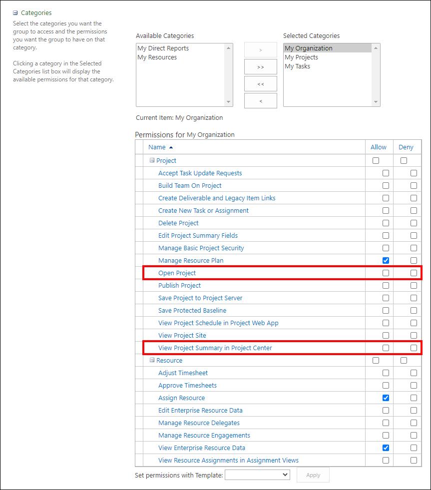 Figure 6: Permissions for My Organization data grid
