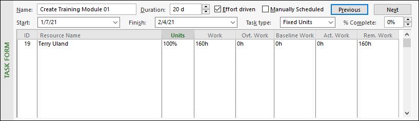 Figure 6:  Work details - initial assignment