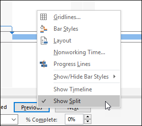 Figure 7: Deselect the Show Split item on the shortcut menu