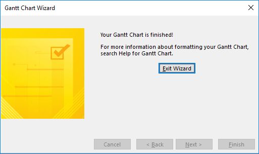 Figure 7: Gantt Chart Wizard dialog - Finished page