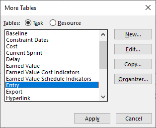 Figure 7: More Tables dialog