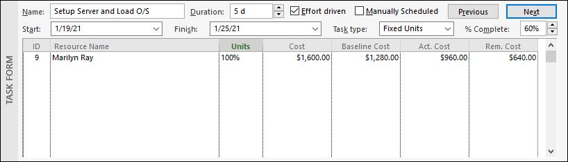 Figure 8: Cost details