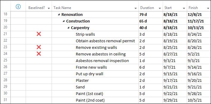 Figure 8: Custom field reveals unbaselined tasks