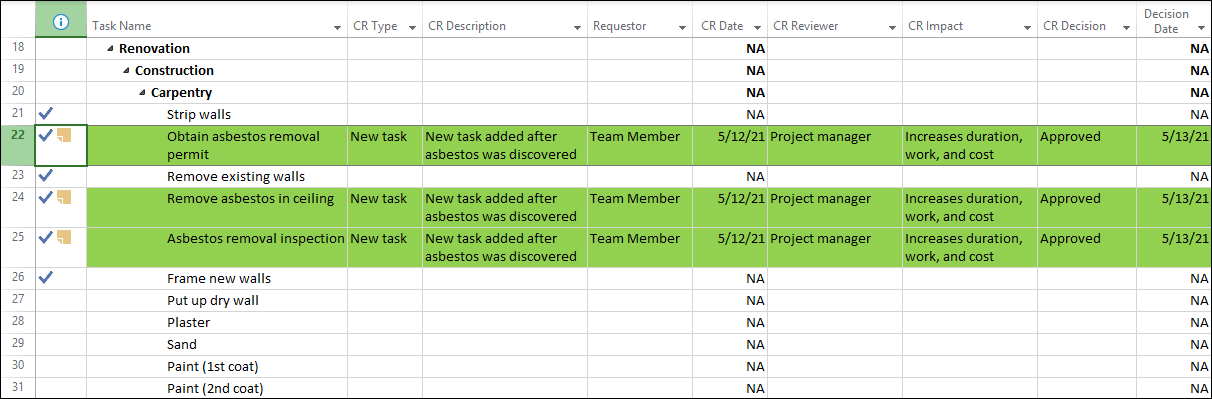 Figure 9: Change Requests table with data populated