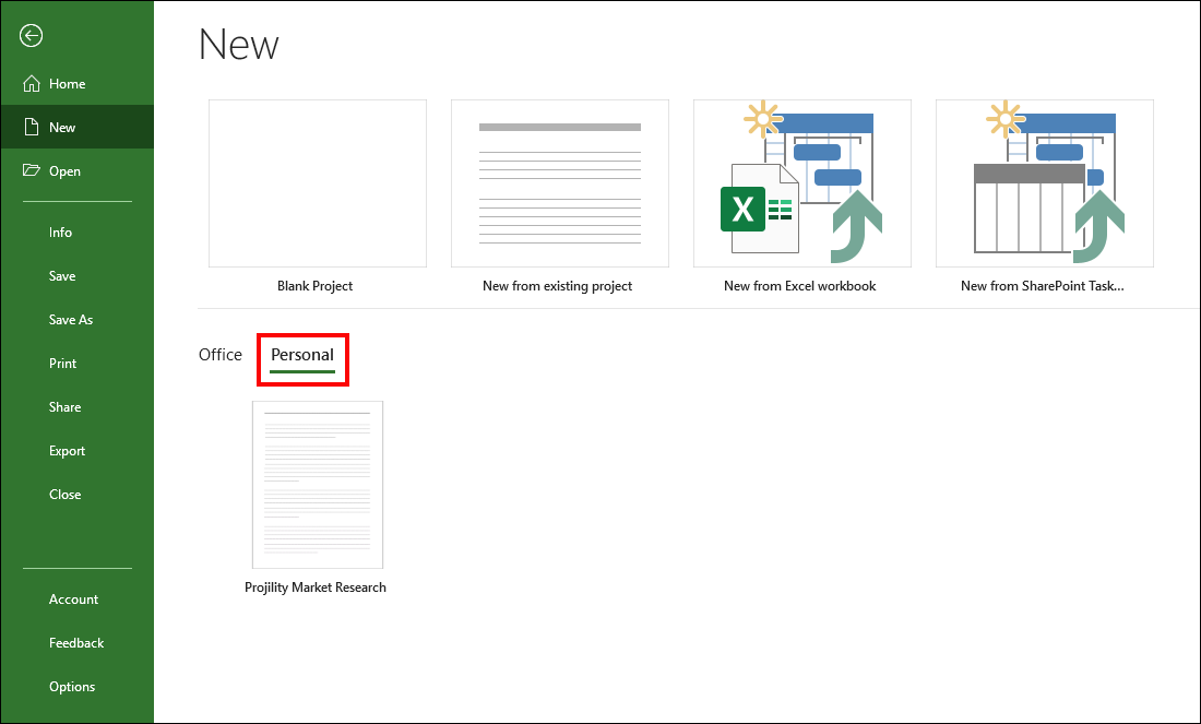 Figure 9: Personal section displays personal project templates