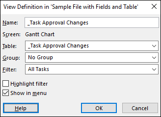 Figure 9: View Definition dialog