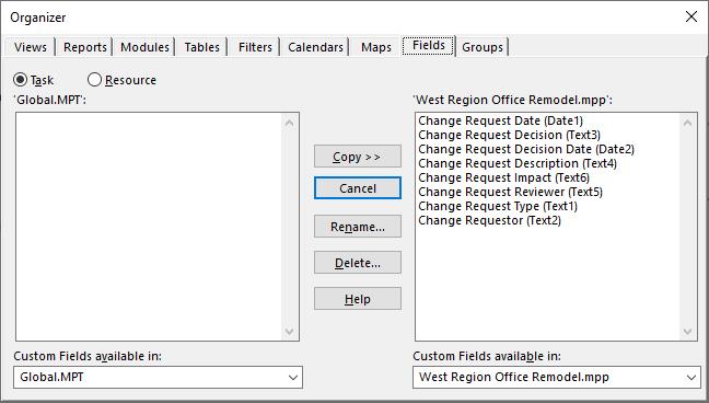 Figure 10: Organizer dialog, Fields page