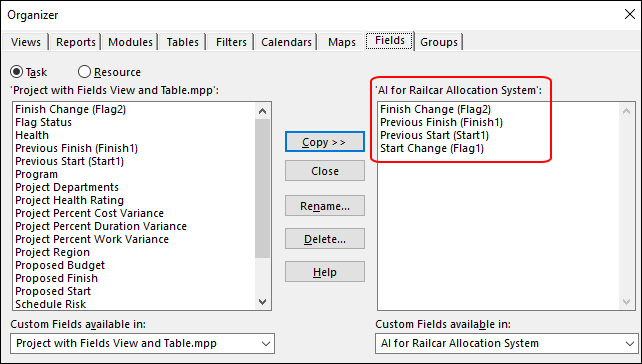 Figure 14: Organizer dialog – copy the custom table