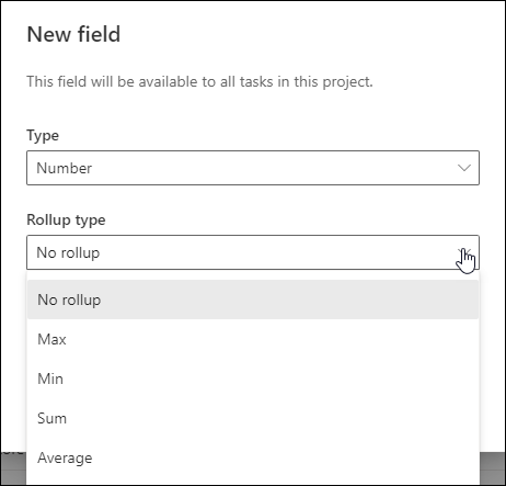 Figure 18: Rollup Type pick list options