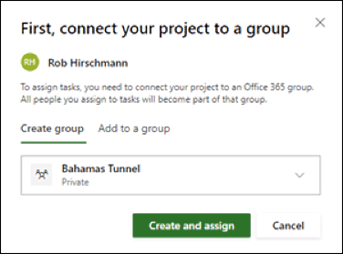 Figure 9: Connect to an O365 group