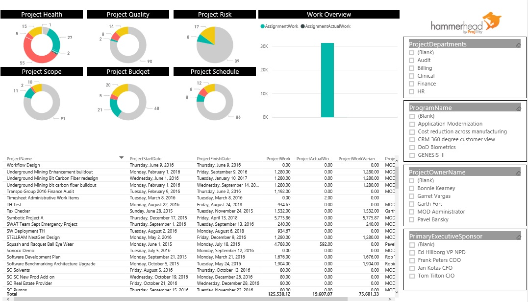 Hammerhead BI – Portfolio Health Dashboard