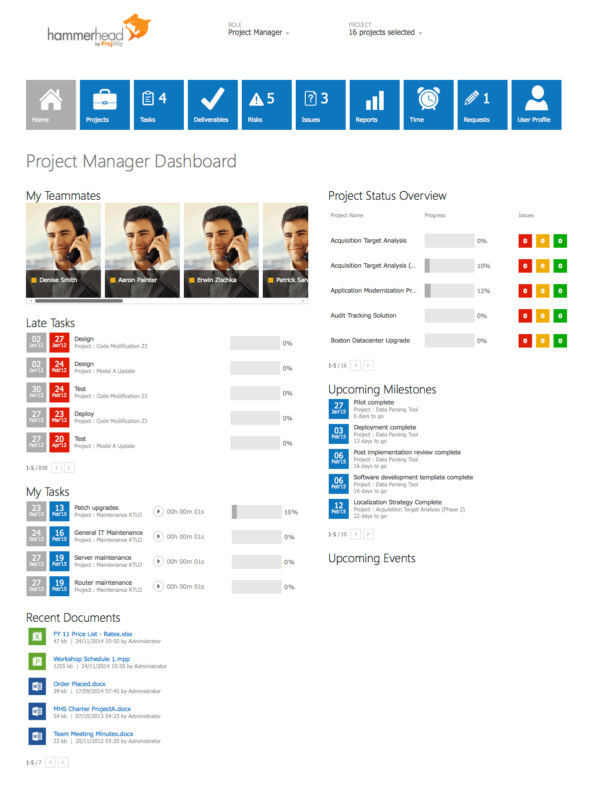Hammerhead Projects – Project Manager Dashboard